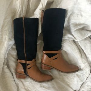 Anthropologie blue and brown boots